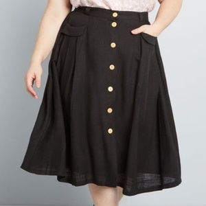 Modcloth Black Effortless Feature Midi Linen Skirt